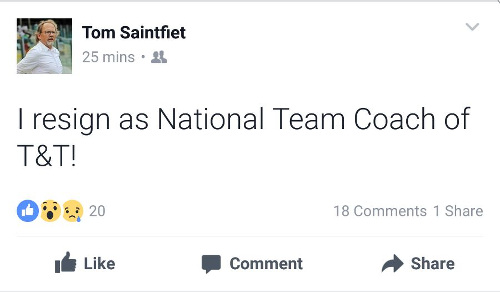 Photo: Belgian coach Tom Saintfiet delivers his resignation from the Trinidad and Tobago National Senior Team job to the public.