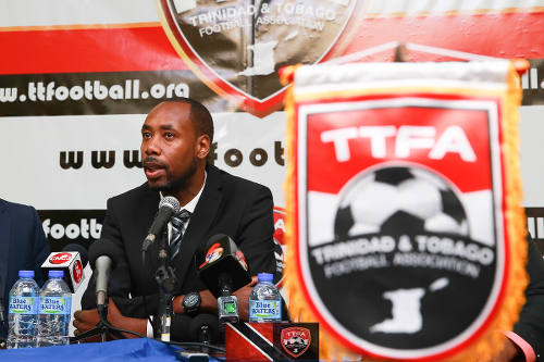 Photo: Trinidad and Tobago head coach Dennis Lawrence talks to the media at the TTFA headquarters on 30 January 2017. (Copyright Allan V Crane/TTFA)