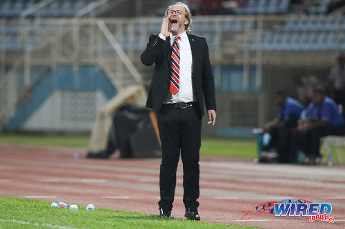 Photo: Trinidad and Tobago National Senior Team head coach Tom Saintfiet shouts instructions during 2017 Gold Cup playoff action against Suriname at the Ato Boldon Stadium, Couva on 4 January 2017. (Courtesy Chevaughn Christopher/Wired868)