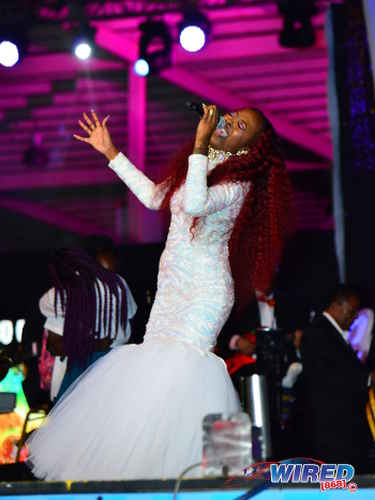"""Photo: Karene Asche performs """"Caught in a Whirlwind"""" at the Calypso Monarch final on 26 February 2017 at the Queen's Park Savannah. Asche placed second from the 17 contestants. (Courtesy Wired868)"""