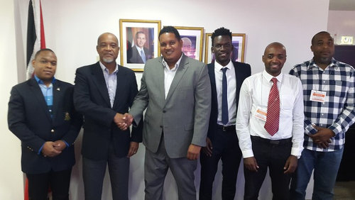 Photo: (Left to right) Lt Ryan Ottley (TTSL interim VP), Keith Look Loy (TTSL interim President), Minister Darryl Smith, Camara David (TTSL Secretary), Kester Lendor (TTSL interim Assistant Secretary) and Quincy Jones (TTSL interim Board member). (Courtesy TTSL)