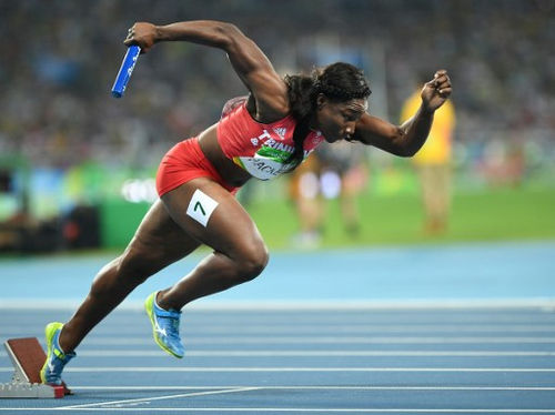 Photo: Trinidad and Tobago's Semoy Hackette competes in the Women's 4x100m relay final during the Rio 2016 Olympic Games in Rio de Janeiro on 19 August 2016. (Copyright AFP 2017/Johannes Eisele)