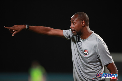 Photo: Trinidad and Tobago National Senior Team head coach Dennis Lawrence gesticulates during friendly international action against Barbados on 10 March 2017. Trinidad and Tobago won 2-0. (Courtesy Chevaughn Christopher/Wired868)