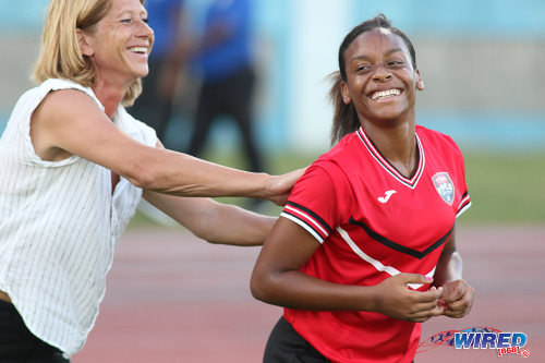 Photo: Trinidad and Tobago Women's National Senior Team coach Carolina Morace (left) shares a light moment with forward Laurelle Theodore after their international friendly encounter with Venezuela at the Ato Boldon Stadium in Couva on 26 May 2017. Theodore missed a late opportunity as the two nations played to a goalless draw. (Courtesy Chevaughn Christopher/Wired868)