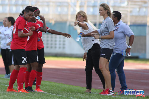 Photo: Trinidad and Tobago Women's National Senior Team coach Carolina Morace (centre) makes a point to Lauryn Hutchinson (far left) and her teammates during international friendly action against Venezuela on 26 May 2017. The two nations played to a goalless draw at the Ato Boldon Stadium in Couva. (Courtesy Chevaughn Christopher/Wired868)