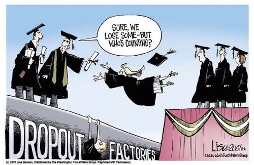 Photo: A cartoon depicting the issue of college dropouts in the US.