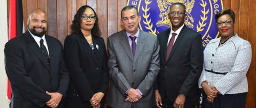 Photo: President Anthony Carmona (centre) appoints High Court judges Kevin Ramcharan (far left), Marcia Ayers-Caesar (second from left) and Avason Quinlal-Williams (far right) in April 2017. Also in the photo is Chief Justice and JLSC chairman Ivor Archie.