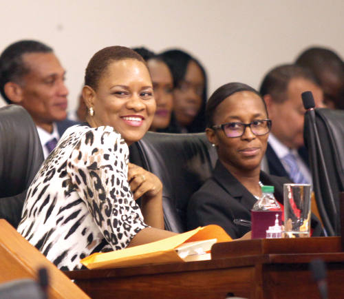Photo: Minister of State in the Office of the Prime Minister (Gender and Child Affairs) Ayanna Webster-Roy (left). (Courtesy Tobago Today)