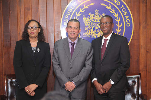 Photo: President Anthony Carmona (centre) is flanked by Magistrate Marcia Ayers-Caesar (left) and Chief Justice Ivor Archie. (Copyright Trinidad Guardian)