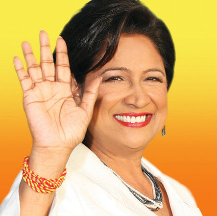 Photo: Now U-N-C me! Trinidad and Tobago Prime Minister Kamla Persad-Bissessar pulls a disappearing action from the Leaders' Debate.