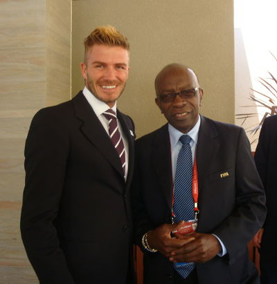 Photo: Ex-England football captain David Beckham (left) and former TTFF special advisor Jack Warner.