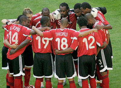 "Photo: The ""Soca Warriors"" bond during the Germany 2006 World Cup."