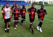 Photo: Trinidad and Tobago players (from left) Cleon John, Carlyle Mitchell, Kareem Moses, Ricardo Peltier and Kevin Molino get used to conditions in Fort Lauderdale before facing Canada. (Courtesy TTFF Media)
