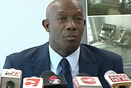 Photo: Prime Minister Dr Keith Rowley: I didn't tell yuh not to bark at my dog? (Courtesy Jyoti Communication)