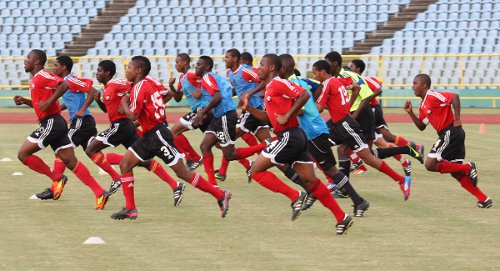 Photo: Damani Richards and the Trinidad and Tobago National Under-20 team train in November 2012. (Courtesy TTFA Media)