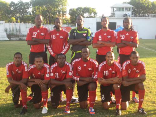 Photo: The Trinidad and Tobago national football team at the 2012 Caribbean Cup finals in Antigua. (Courtesy Antigua Independent Media/ Wired868)