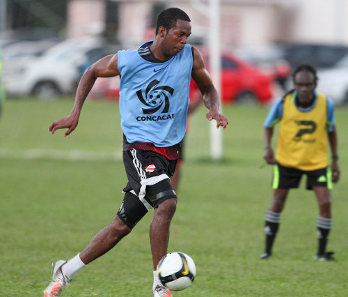 Photo: Trinidad and Tobago defender Carlyle Mitchell struts his stuff during the inaugural 2013 Wired868 Football Festival at UWI SPEC. (Courtesy Allan V. Crane/ Wired868)