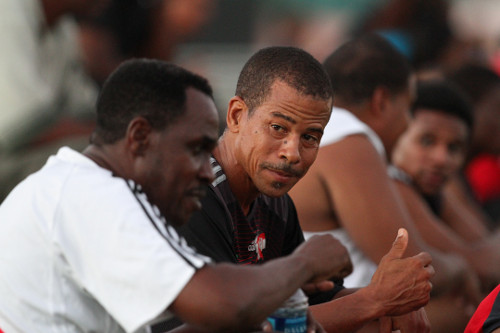 Photo: Former Trinidad and Tobago national coach Ron La Forest (left) makes a point to Pro League CEO Dexter Skeene. (Courtesy Allan V. Crane/Wired868.com)
