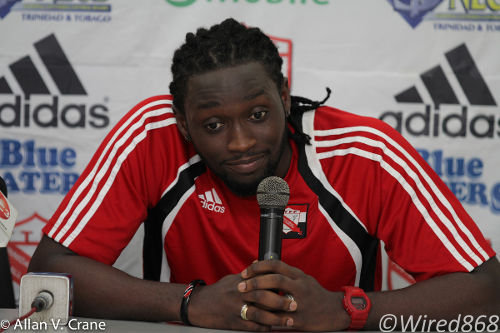 Photo: Trinidad and Tobago and Stoke City forward Kenwyne Jones has a word. (Courtesy Allan V. Crane/ Wired868)