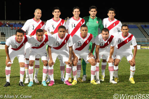 Photo: Team Peru is led by Bayern Munich star Claudio Pizarro (third from right). (Courtesy Allan V. Crane/ Wired868)
