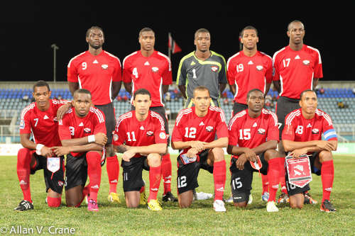 "Photo: The ""Soca Warriors"" prepare for battle against Peru. (Courtesy Allan V. Crane/ Wired868)"