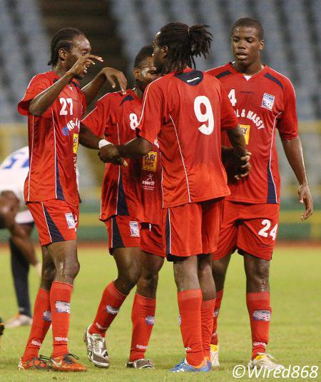 Photo: Caledonia AIA returned to winner's row yesterday with a 6-1 rout of St Ann's Rangers. (Courtesy Wired868)