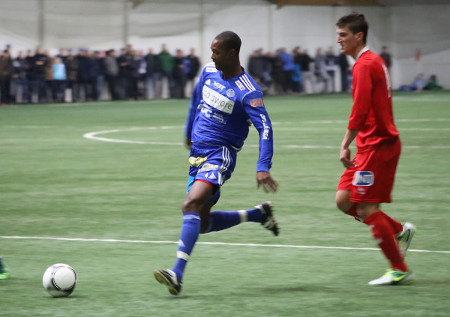 Photo: Trinidad and Tobago midfielder Ataullah Guerra (left) in action for Finland Premier League team RoPS in 2013. (Courtesy RoPS)