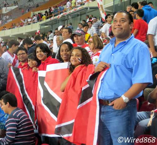 Photo: Trinidad and Tobago football fans make themselves seen in Lima. (Courtesy Juliet Solomon/Wired868)