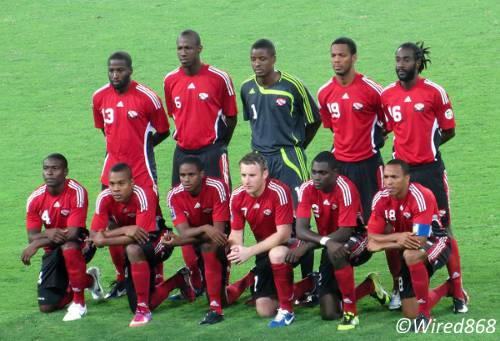 Photo: The Trinidad and Tobago football team pose before kick off against Peru in Lima. (Courtesy Juliet Solomon/Wired868)