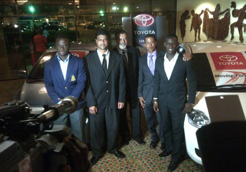 Photo: Defence Force strikers Richard Roy (far left) and Devorn Jorsling (far right) receive Toyota Yaris cars from Toyota marketing manager Sean Shaffie (second from left) while Pro League chairman Larry Romany (third from left) and CEO Dexter Skeene (second from right) look on. (Courtesy TT Pro League)