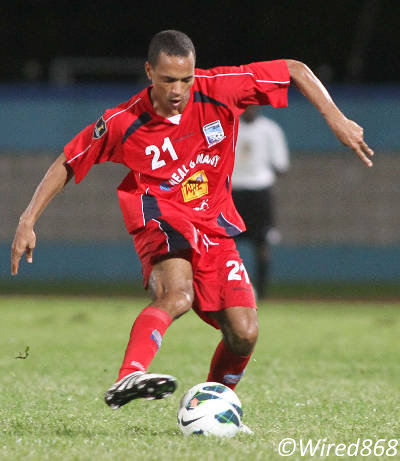 Photo: At 31, Caledonia AIA playmaker Densill Theobald is the oldest member of the current Trinidad and Tobago team. (Courtesy Wired868)