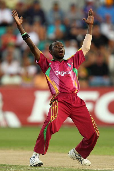 Photo: Nikita Miller appeals for a wicket while wearing West Indies' colours. (Courtesy ESPN)