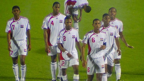 Photo: Trinidad and Tobago national under-17 captain Brendon Creed (third from right) leads Kishun Seecharan (far left), Josiah Trimmingham (second from left), Shannon Gomez (third from left) and their teammates off the field during yesterday's World Cup qualifier against Costa Rica. (Courtesy TTFF Media)