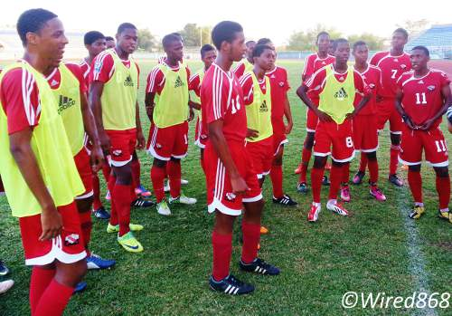 Photo: Trinidad and Tobago national under-17 footballer Akeem Garcia (far right) and his teammates at a training session. (Courtesy Victoria Walcott/Wired868)