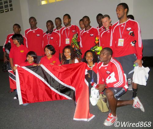 Photo: The Trinidad and Tobago national football team meets their supporters in Peru. (Courtesy Juliet Solomon/Wired868)