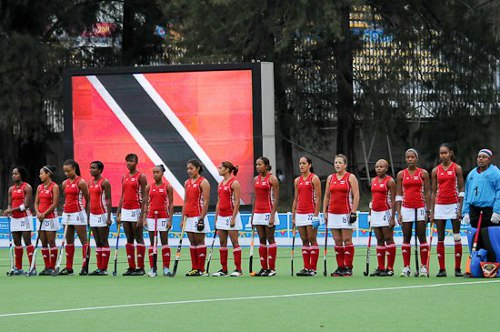 Photo: The Trinidad and Tobago hockey ladies prepare for international battle.