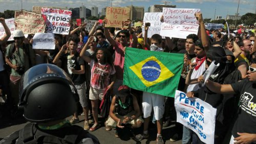 Photo: Brazilians protest the 2014 FIFA World Cup.