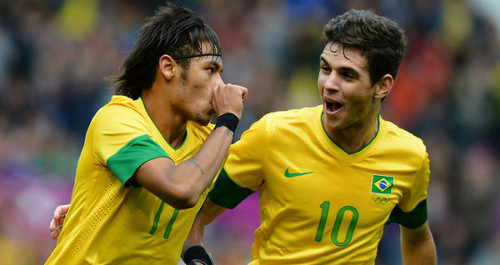Photo: Brazil's Neymar (left) and Oscar hope to enhance their reputations at the 2014 World Cup. But their countrymen face a different reality.
