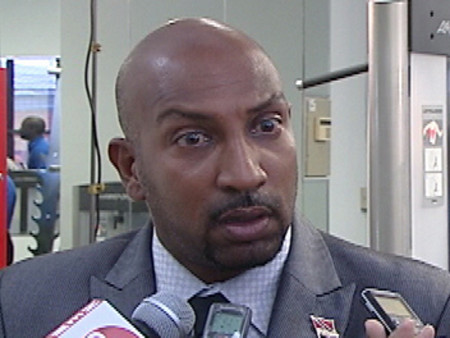 Photo: Former Sport Minister Anil Roberts tries a Jedi Mind Trick on reporters.