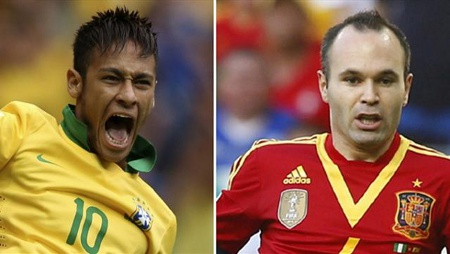Photo: Soon-to-be Barcelona teammates Neymar (left) and Andres Iniesta will go head to head in the Confederations Cup final tomorrow.