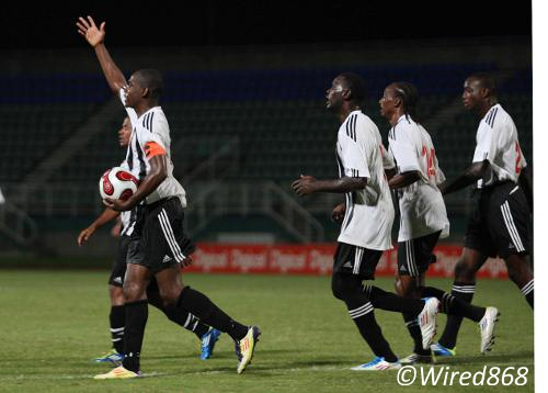 Photo: Central FC attacker Anthony Wolfe (left) leads the charge in a Pro League contest. (Courtesy Wired868)