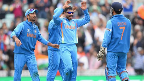 Photo: India cricketers celebrate another English wicket.