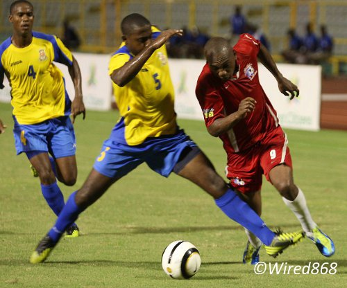 Photo: Former Trinidad and Tobago forward Hector Sam (right) left St Ann's Rangers for Central FC in January. (Courtesy Wired868)