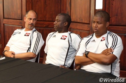"Photo: Trinidad and Tobago head coach Stephen Hart (left) with assistants Hutson ""Barber"" Charles (centre) and Derek King at his first press conference. (Courtesy Wired868)"