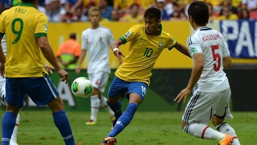 Photo: Brazil attacker Neymar Junior (centre) has taken central stage for his national team of late.