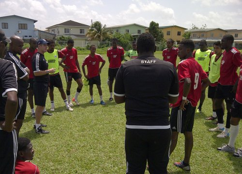 Photo: Central FC coach Terry Fenwick (third from left) gets his squad ready for the upcoming Pro League season. (Courtesy Central FC)