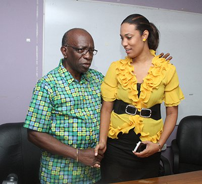 Photo: ILP leader Jack Warner gave UNC candidates Khadijah Ameen a rough time last night. (Courtesy 102FM)