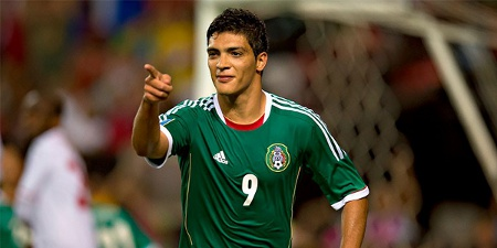 Photo: Mexico striker Raul Jimenez celebrates the winning goal against Trinidad and Tobago. (Courtesy CONCACAF)