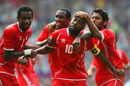 Photo: United Arab Emirates' attacker Ismail Matar (centre) will test the Trinidad and Tobago team in September. (Courtesy The National)