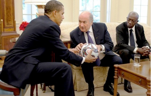 Photo: President Barack Obama (left) hosts FIFA president Sepp Blatter (centre) and then vice-president Jack Warner during the United States' ill-fated 2022 World Cup bid. Warner's next trip to the US is unlikely to be as pleasant.